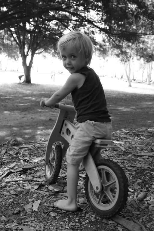 Cedar masters the balance bike