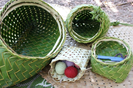 How To Weave A Coconut Leaf Basket : Coconut palm weaving dilly bag fruit bowl taro basket